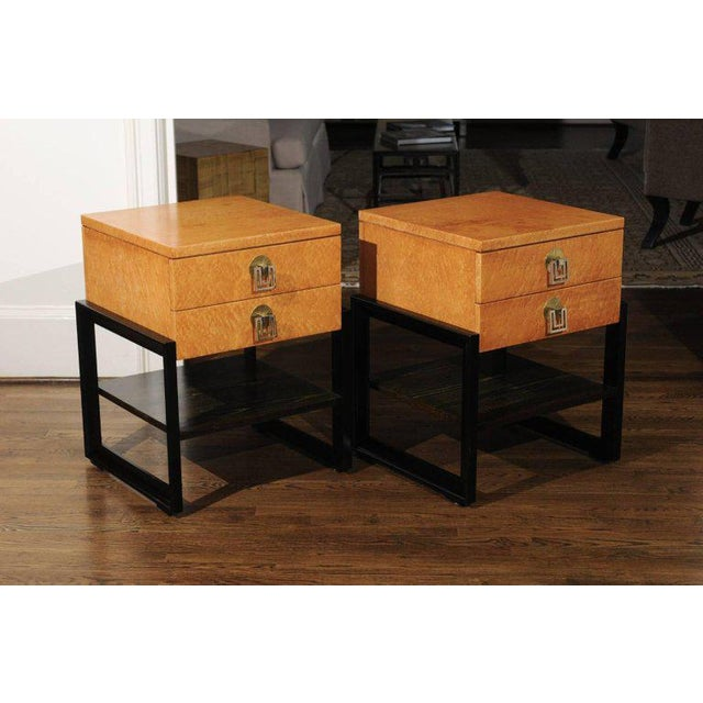 Tan Magnificent Pair of End Tables by Renzo Rutili in Birdseye Maple, Circa 1955 For Sale - Image 8 of 13