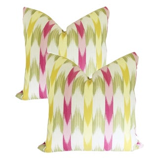 Custom Multi-Colored Flame Stitch Stripe Pillow Covers - a Pair