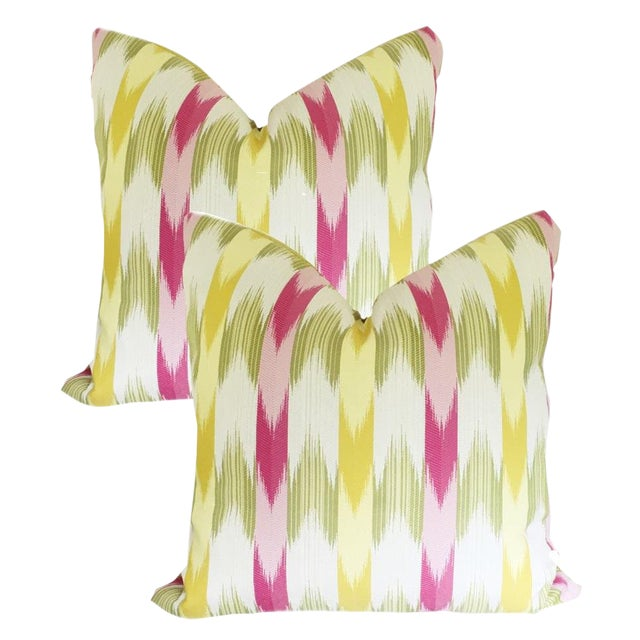 Custom Multi-Colored Flame Stitch Stripe Pillow Covers - a Pair For Sale