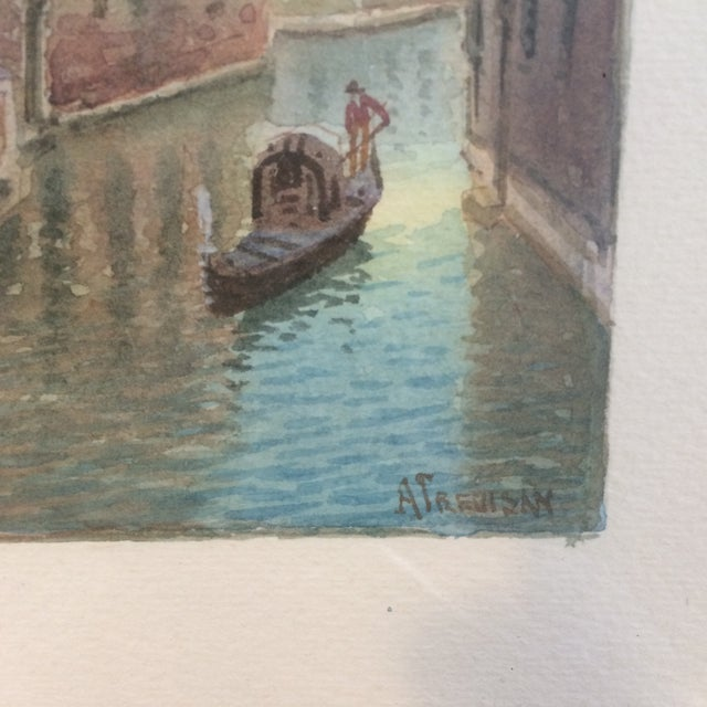 Impressionism Alberto Trevisan Venice Watercolor Painting For Sale - Image 3 of 5