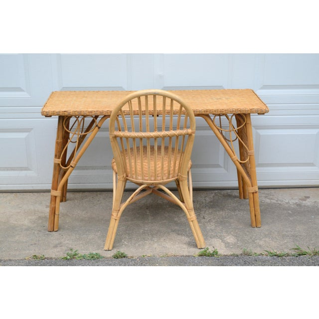 1950s Wicker Rattan Desk and Chair - a Set For Sale - Image 12 of 12