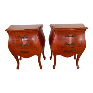 French Style Pumpkin Orange Bombay Nightstands -Pair For Sale