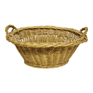 Woven Rattan Handled Basket For Sale