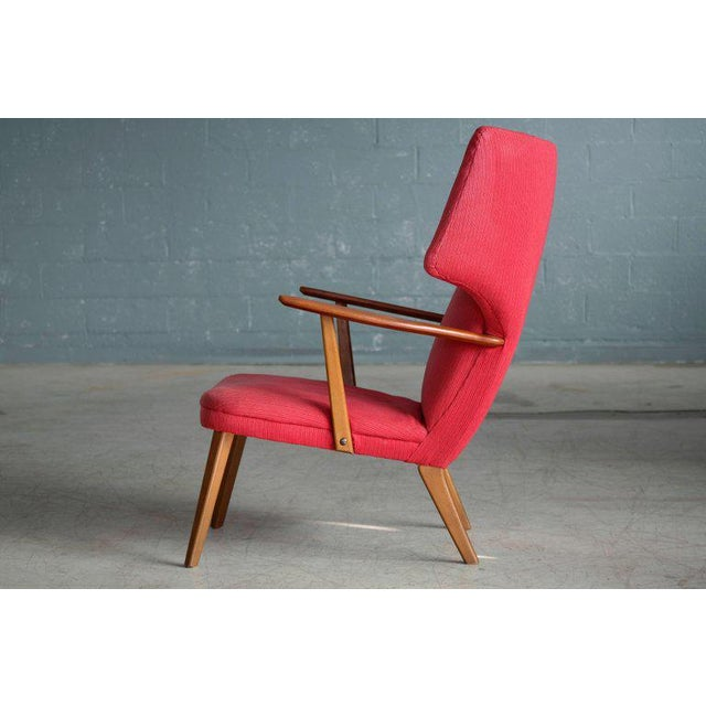1950s Danish 1950's Madsen and Schubell High Back Lounge Chair in Teak and Oak For Sale - Image 5 of 11