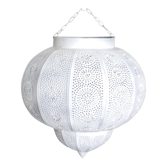Moroccan White Painted Metal Hanging Lamp For Sale