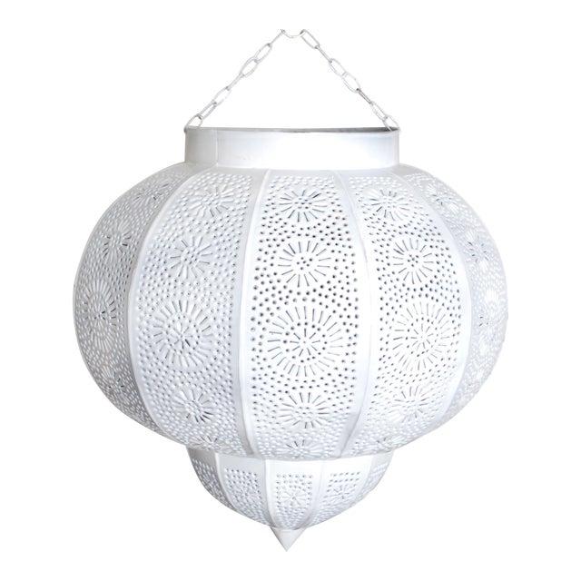 Moroccan White Painted Metal Hanging Lamp - Image 1 of 3