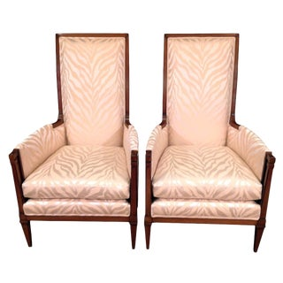 Mid-Century Modern Upholstered Walnut Bergeres - a Pair For Sale