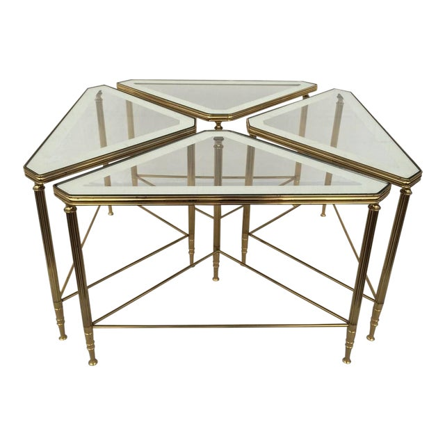Brass and Glass Tables by Maison Jansen - Set of 4 For Sale