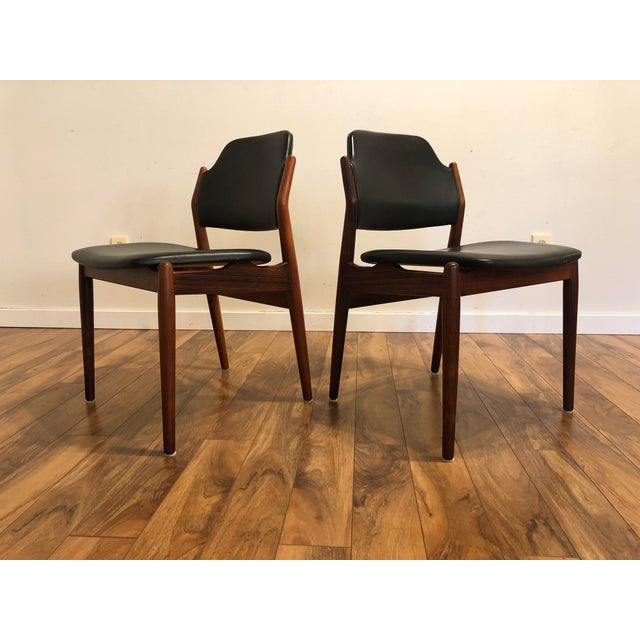 Arne Vodder for Sibast Rosewood and Leather Side Chairs, Made in Denmark, a Pair For Sale - Image 9 of 9