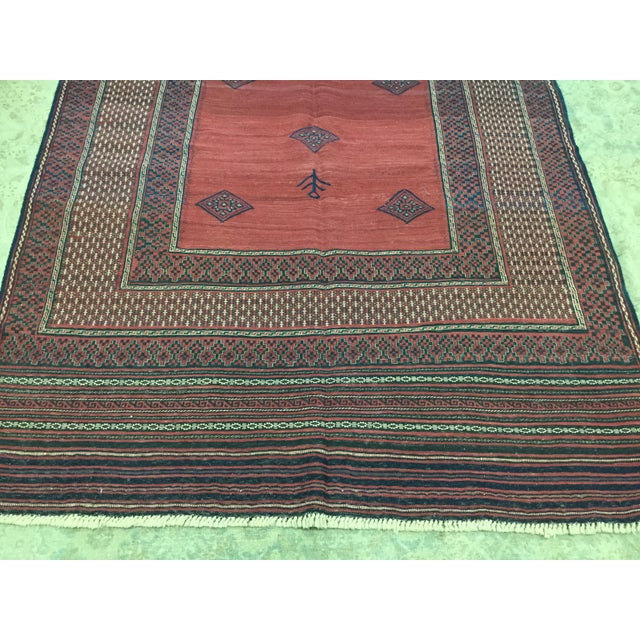 Textile Red & Blue Vintage Turkish Kilim Rug - 6′ × 7′ For Sale - Image 7 of 8