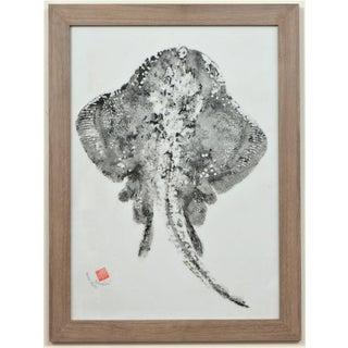 "Original Japanese Skate Fish ""Gyotaku"" on Linen Preview"