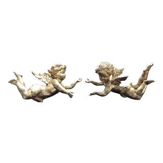 Wooden Hand Carved Cherubs - A Pair For Sale