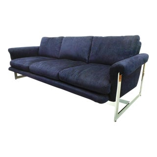 Mid-Century Modern Milo Baughman for Thayer Coggin Midnight Blue Chenille and Chrome Sofa For Sale
