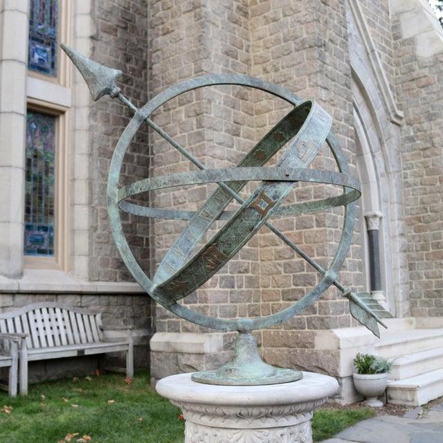 "Bronze Armillary Sundial Sphere 24"" Diameter For Sale - Image 4 of 5"
