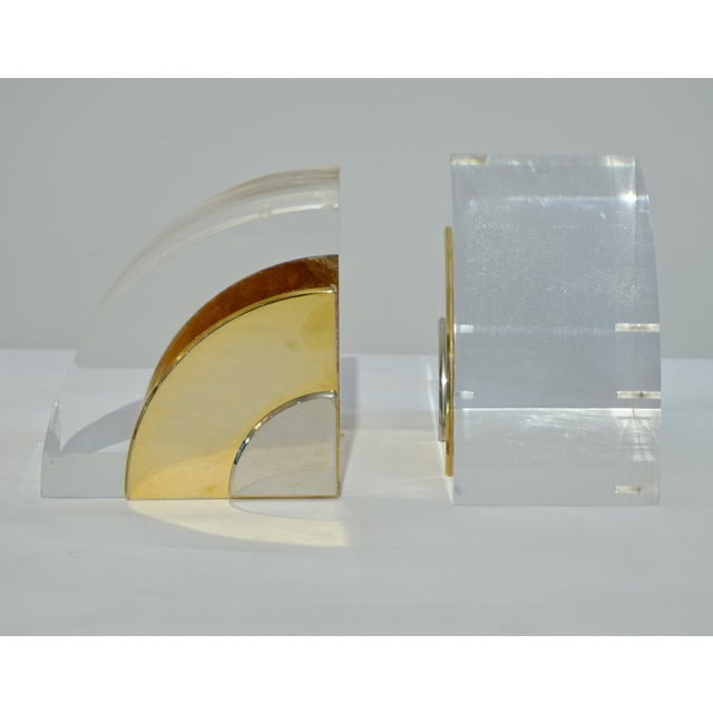 1970 Italian Brass Nickel Lucite Bookends - a Pair For Sale - Image 4 of 11