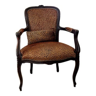 Antique Louis XV French Cabriolet Chair New Upholstery Leather Calf Hair Cheetah Print For Sale