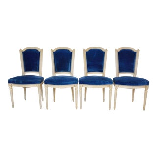 1920's Set of 4 Louis XVI Style Long Back Dining Chairs With Original Blue Upholstery