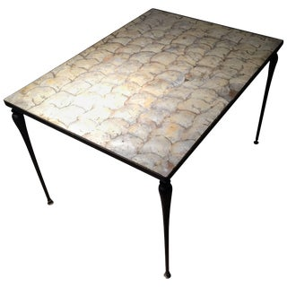 Vintage Designer Iron & Capiz Shell Coffee Table Hollywood Regency For Sale