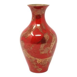 Vintage Vermilion Red and Gold Porcelain Vase by Cederborg For Sale