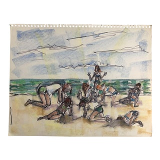 Mid-Century Modern Pawley's Island Beach Scene, 1966 For Sale