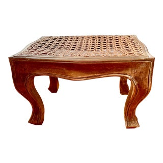 Italian Rattan and Carved Oak Foot Stool For Sale
