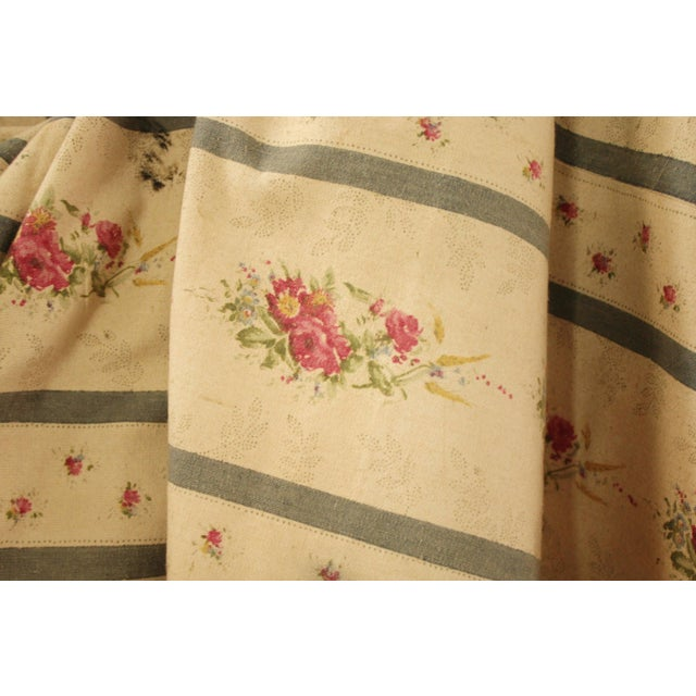1930s Antique French Blue Striped Floral Curtain For Sale - Image 5 of 10