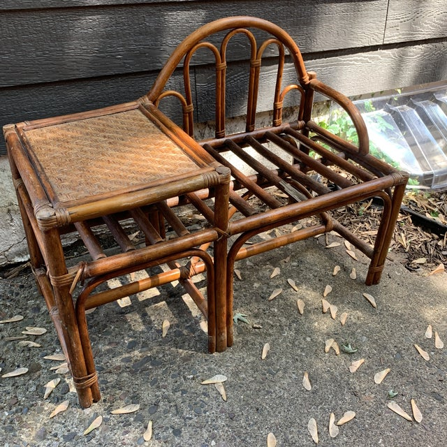 Vintage Rattan and Woven Telephone Bench/ Gossip Table For Sale - Image 9 of 9