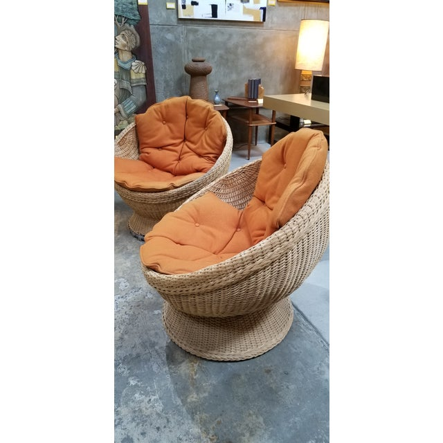1970's Mod Rattan Lounge Chairs, a Pair For Sale - Image 4 of 10