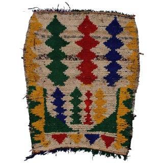 Vintage Mid-Century Berber Moroccan Boucherouite Rug - 3′7″ × 4′2″ For Sale