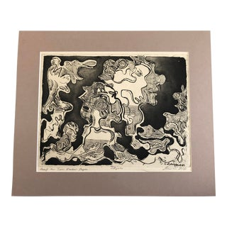 1980 Black and White Abstract Figures Etching by Robert Lohman For Sale