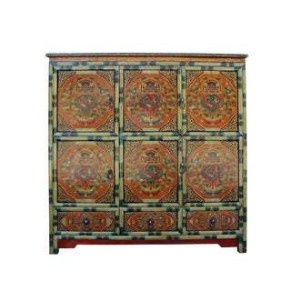 Chinese Tibetan Jewel Dragon Graphic Tall Credenza Shoes Cabinet