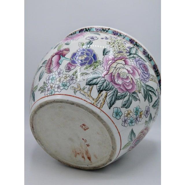 Large Chinese Porcelain Lotus Flower Koi Fish Bowl Garden Planter For Sale - Image 10 of 10