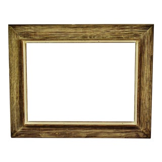 Vintage Large Scale Distressed Wood Picture Frame For Sale