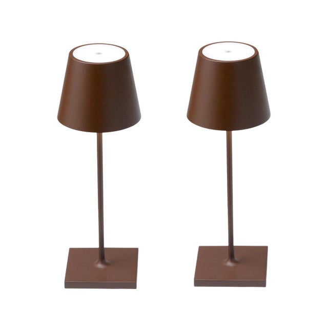 Modern Zafferano Rust Rechargeable Indoor/Outdoor Cordless Mini Table Lamp - Pair For Sale - Image 3 of 3