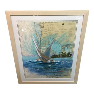 Kerry Hallam Mixed Media Painting Tampa Bay St Joseph Sound For Sale