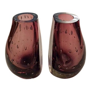 Mid-Century Carl Erickson Controlled Bubble Bookend Vases - a Pair