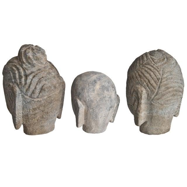 Stone Buddha Heads - Set of 3 - Image 3 of 3