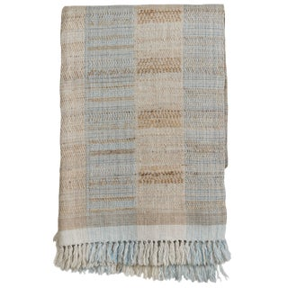 Indian Handwoven Wool and Raw Silk Throw in Light Blue, Beige and Ivory For Sale