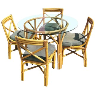 Restored Mid-Century Rattan Table with Chairs Dining Set For Sale