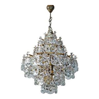 1960s Vintage Mid Century Kinkeldey Crystal Chandelier For Sale