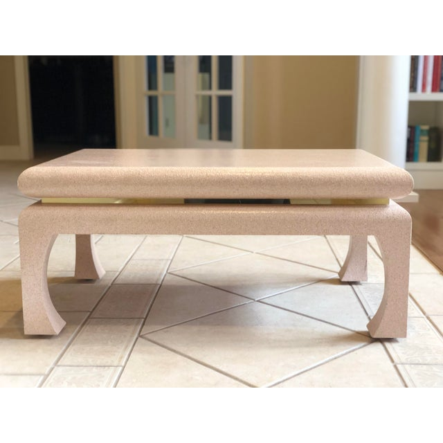 Gold 1970s Art Deco Karl Springer Textured Pink Lacquer and Brass Coffee Table For Sale - Image 8 of 8