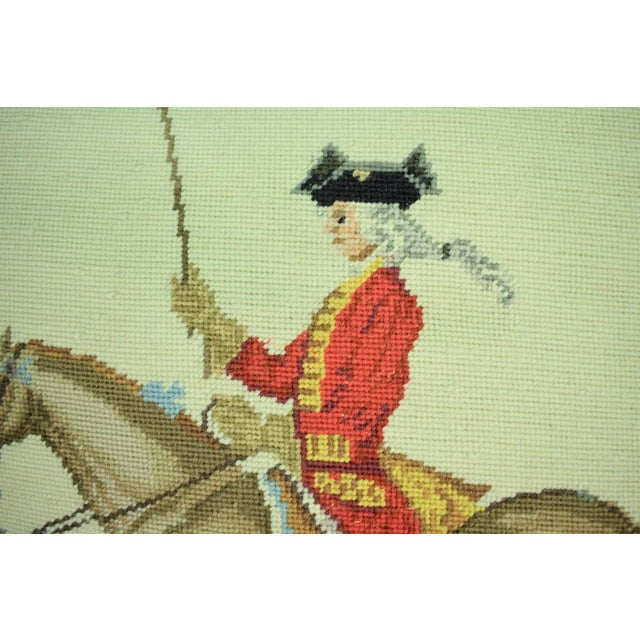 English Traditional Equestrian Petit-Point Pillows - A Pair For Sale - Image 3 of 6