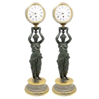 French Empire Greek Female Mantel Clocks For Sale