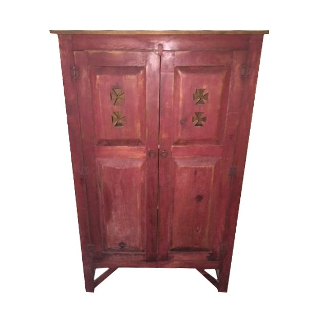 Spanish-Style Red-Tone Wood Armoire - Image 1 of 3