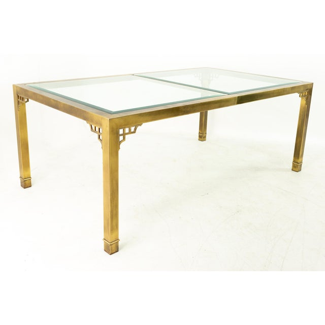 Mastercraft Mid Century Solid Brass and Glass Expanding Dining Table For Sale - Image 13 of 13
