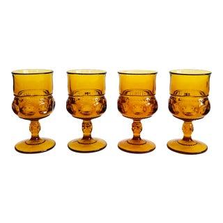 Vintage Amber Wine Glasses - Set of 4 For Sale
