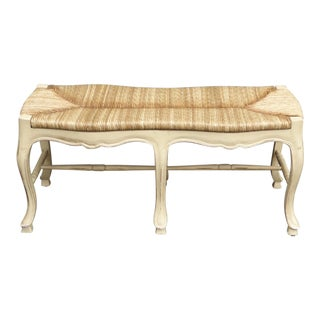 1990s Traditional French Country Rush Seat Creme Bench