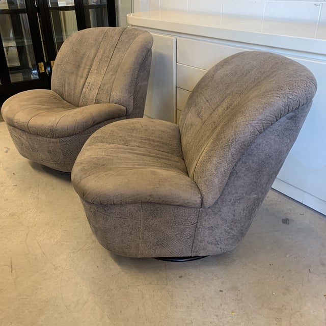 Mid-Century Modern Kagan Style Leather Swivel Rocker Chairs - a Pair For Sale - Image 3 of 13