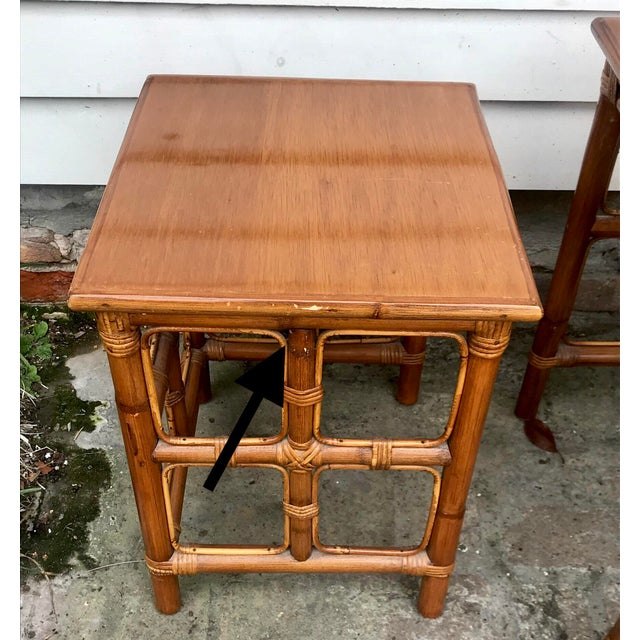 Brown 1960s Mid-Century Modern Rattan Nesting Tables - Set of 3 For Sale - Image 8 of 13