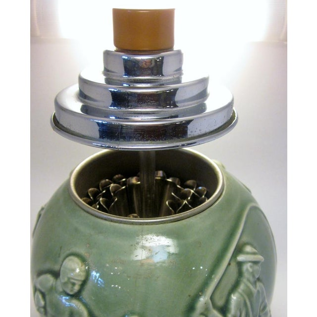 Green Vintage Art Deco Rookwood Pottery Sports and Leisure Figural Theme Chrome Detail Bakelite Handle Cigarette Dispenser For Sale - Image 8 of 10